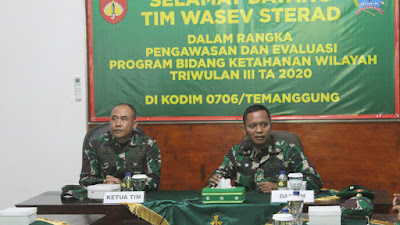 Kodim 0706 / Temanggung Kunjungan Tim Wasev Sterad Dalam Rangka Pengawasan Dan Evaluasi Bidang Pertahanan Wilayah