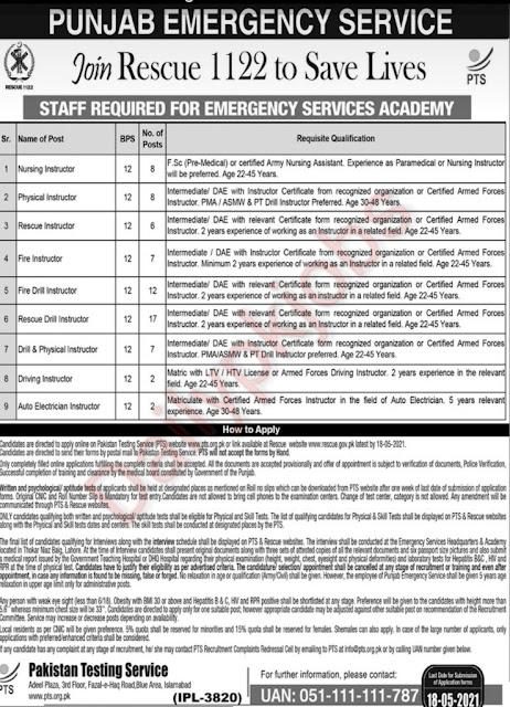 Pakistan Rescue 1122 Latest Jobs 2021