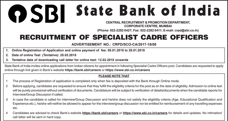Sbi Recruitment 2018 Notification 50 Deputy Manager Apply Online