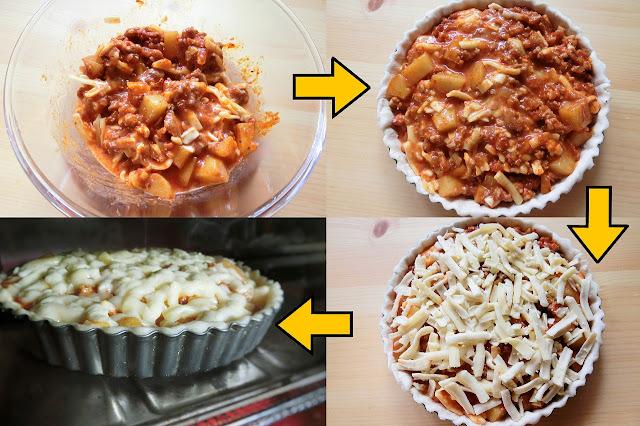 <手順3>を加えて絡めるように混ぜ、冷やしておいた型に敷いた生地のに流し入れます。 残りのチーズを散らし、オーブントースターで985Wで約15分、こんがりきつね色にチーズが焼け、生地がパリッとなるまで焼きます。 途中、チーズが焦げそうなら温度を下げてアルミホイルをかぶせて焼きます。