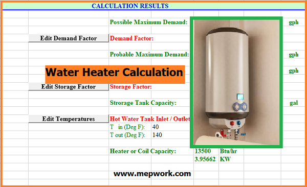 Electrical Water Heater Capacity Excel Sheet (xls)