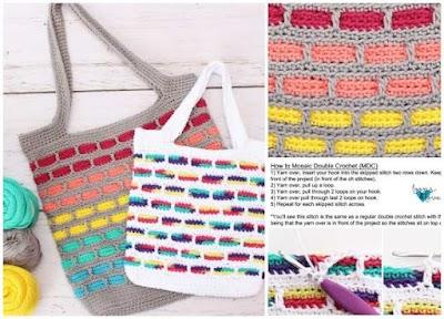 Bolsa de crochet con mosaicos a colores