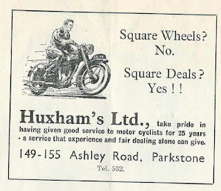 Huxhams Ltd advert from Ibsley race program 12 May 1951