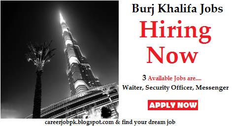 Burj Khalifa Hotel Waiter & Security Guard Job