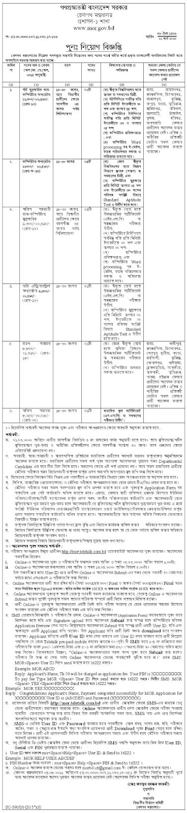 বাংলাদেশ রেলওয়ে চাকরির নিয়োগ বিজ্ঞপ্তি ২০২০-Bangladesh Railway Job Circular 2020 www.railway.gov.bd