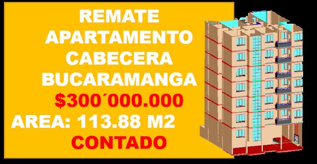 VENTA EN REMATE APARTAMENTO CABECERA BUCARAMANGA COLOMBIA
