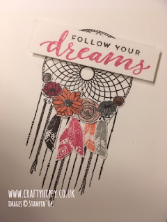 Handmade #simplestamping Follow Your Dreams dreamcatcher card in shades of pink - Melon Mambo, Calypso Coral and Blushing Bride, made with Stampin' Up! products