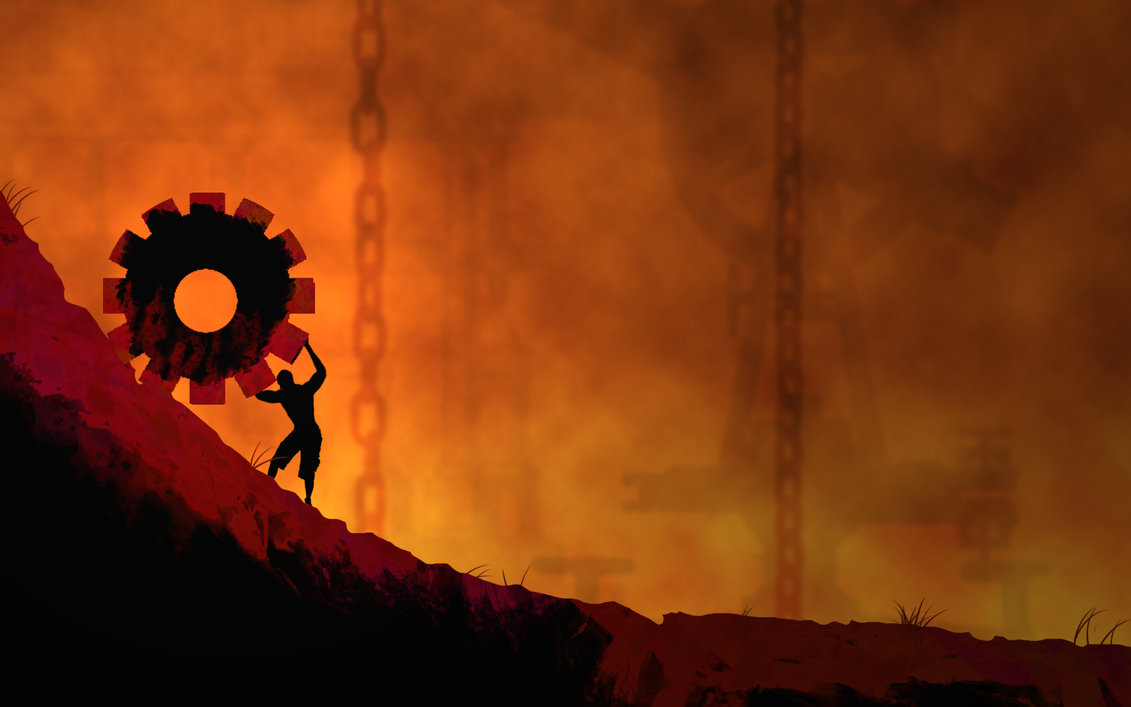 MSilhouette of sisypus pushing a giant cog up a hill