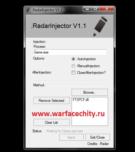 Инжектор RadarInjector на варфейс
