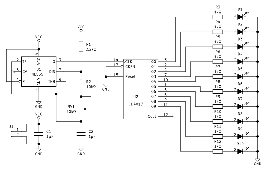 CD4017 and NE555 Light Chaser Circuit · One Transistor