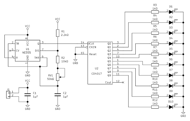 CD4017 and NE555 Light Chaser Schematic