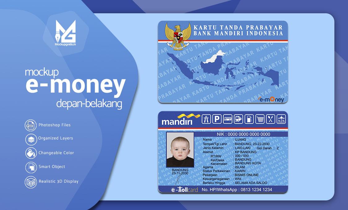 Mockup Custom Kartu Uang Elektronik e-money Depan Belakang Gratis
