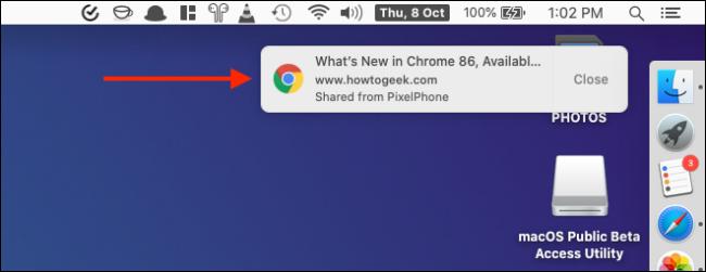 انقر فوق Notification To Open Received Tab from Chrome on iPhone أو iPad