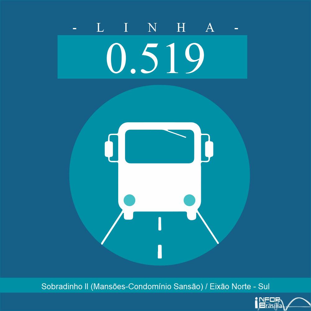 Horário de ônibus e itinerário 0.519 - Sobradinho II (Mansões-Condomínio Sansão) / Eixão Norte - Sul