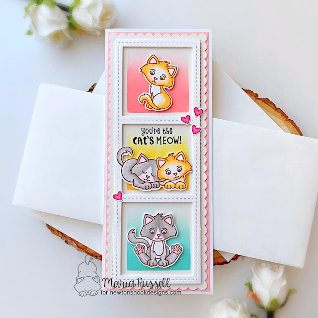 Kitten Slimline card by Maria Russell | Smitten Kittens Stamp set, Slimline Frames & Windows Die Set, Slimline Frames & Portholes Die Set, Slimline Masking Circles & Squares Stencil Set by Newton's Nook Designs