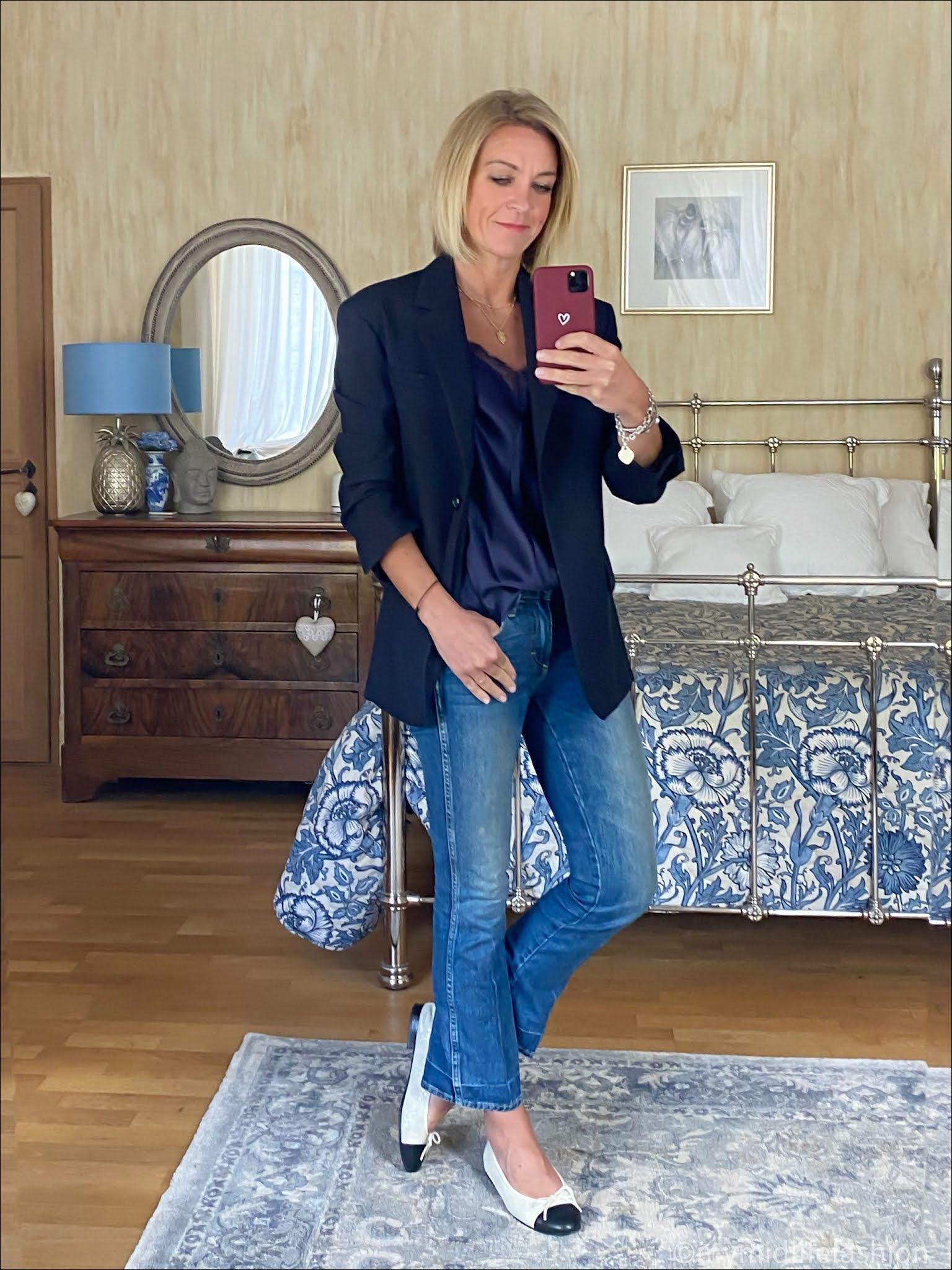 my midlife fashion, arket oversized wool hopsack blazer, Massimo Dutti silk lace trim camisole, j crew cropped kick flare jeans, Chanel two tone ballet flats