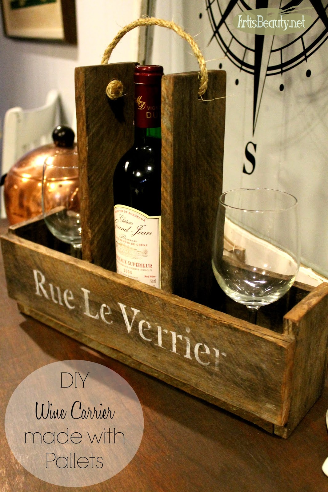 ART IS BEAUTY: DIY French Wine And Wine Glass Carrier Made