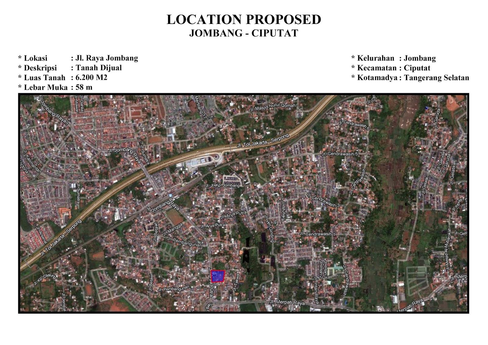 Jual Tanah Jalan Jombang Raya, Ciputat. Luas 6200 m2