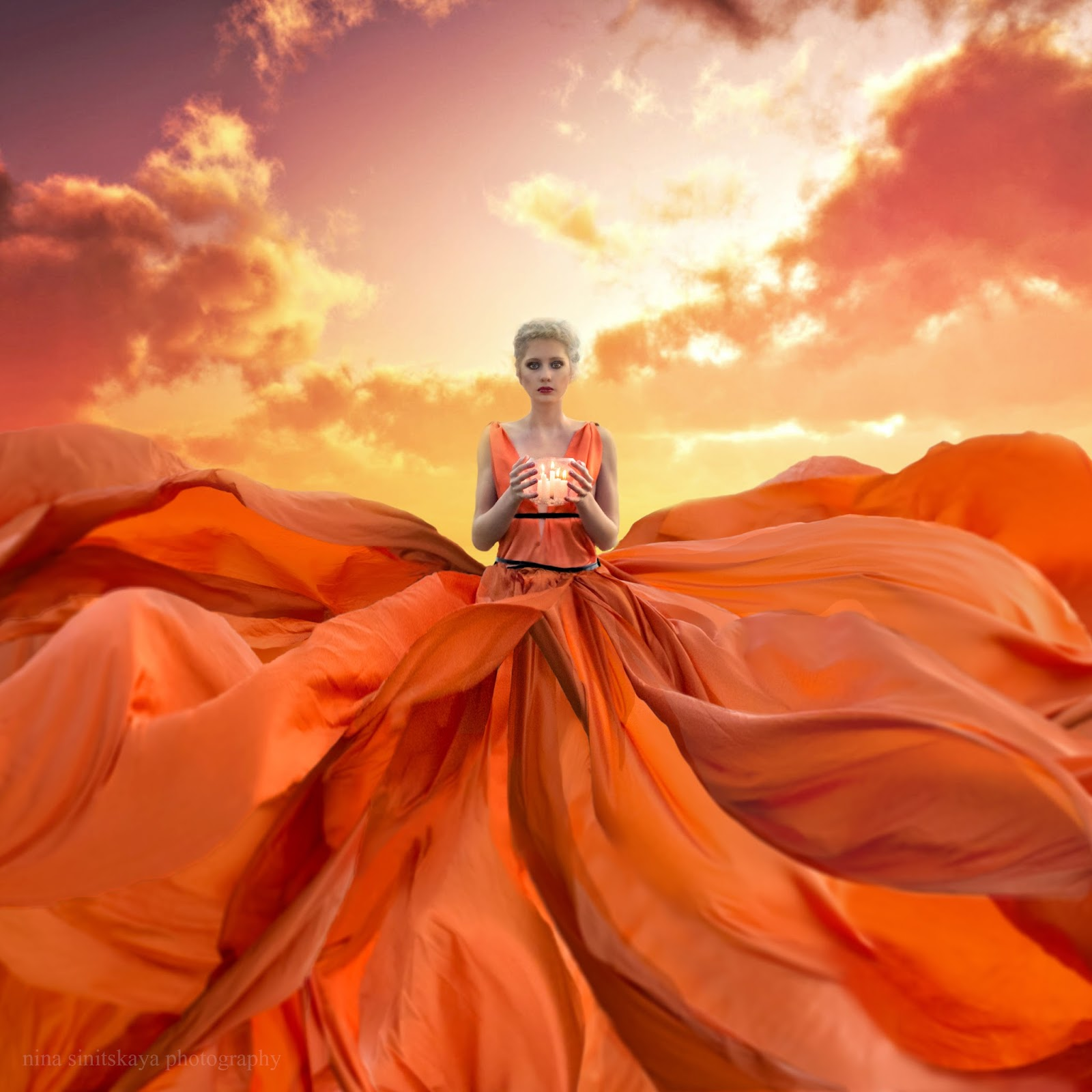 surrealistic flowing dress of the girl