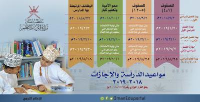 مواعيد الدراسة والإجازات والامتحانات بسلطنة عمان للعام الدراسي 2018- 2019