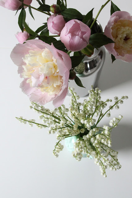 peonies, lily of the valley, flowers, spring flowers, Anne Butera, My Giant Strawberry