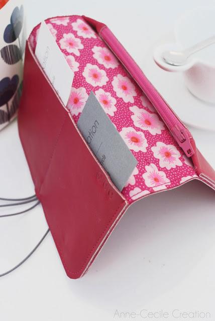 portefeuille cuir rose fête des mères fait main