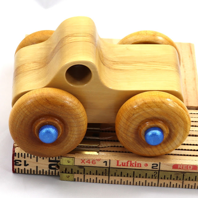 Handmade Wooden Toy Monster Truck Metallic Blue Trim Pickup Truck in the Play Pal Series