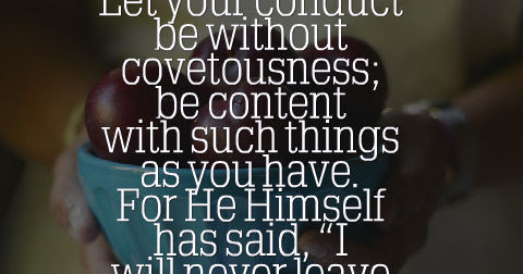 Today's Godly Reminder - Hebrews 13:5