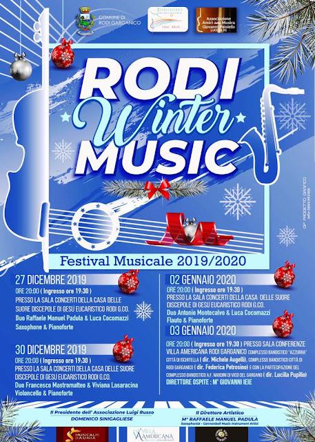 """Nasce il Rodi Winter Music, rassegna di concerti che vuole """"riscaldare"""" quattro serate d'inverno traghettando il pubblico dal 2019 al nuovo anno."""