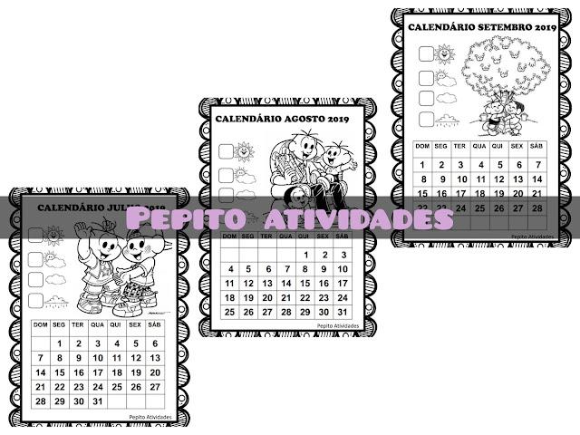 Calendários escolares turma da MÔNICA 2019 para imprimir e colorir.