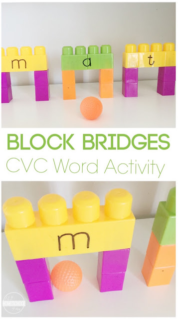 Block Bridges: CVC Words Activity - This  is such a fun learning activity for kids learning basic words in prek, kindergarten, first grade, and 2nd grade. Perfect for at home learning, homeschool, preschools, classrooms, summer learning, educational activities, and more. SO CLEVER!