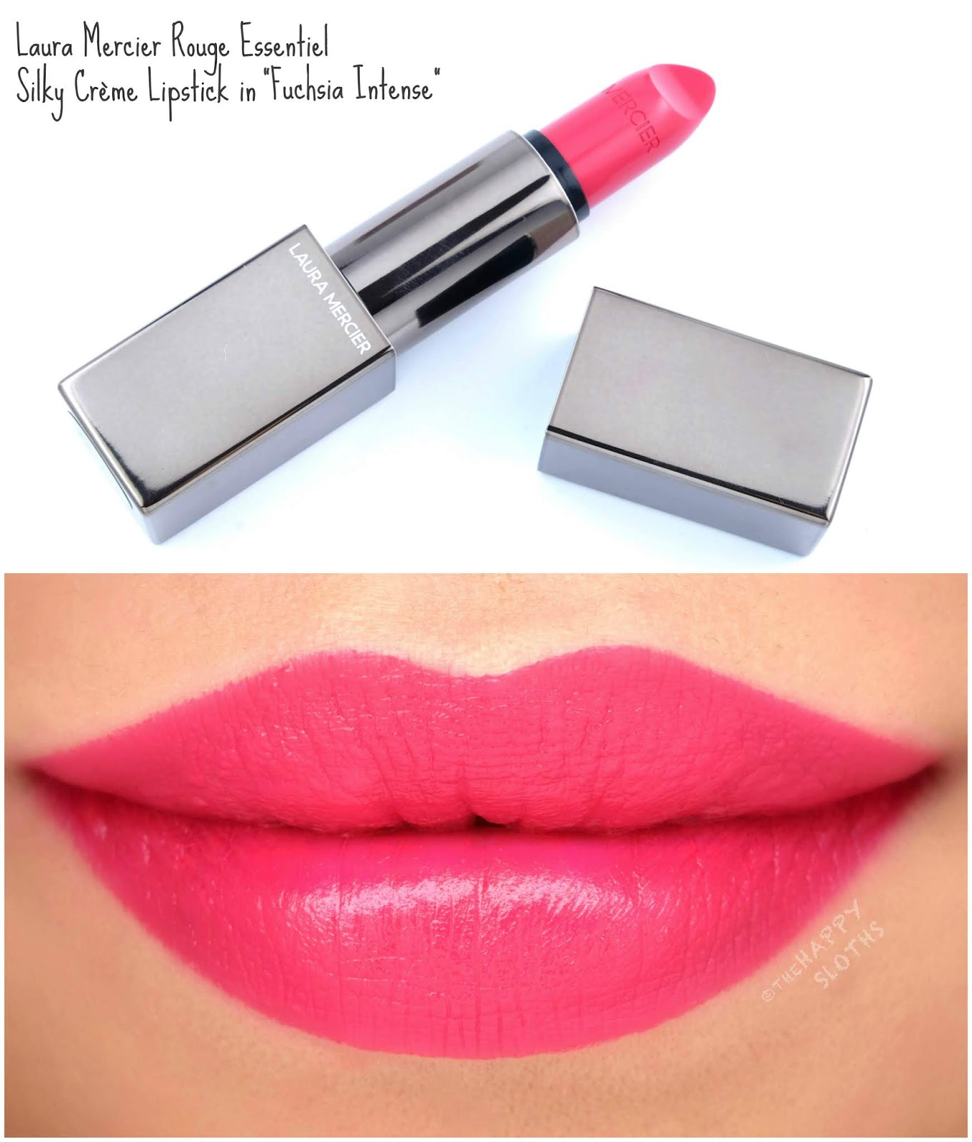 "Laura Mercier | Rouge Essentiel Silky Crème Lipstick in ""Fuchsia Intense"": Review and Swatches"
