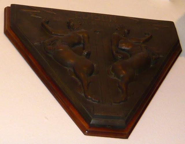 """Targa in bronzo """"littoria"""" con fregio della Società Edison di Elettricità"""