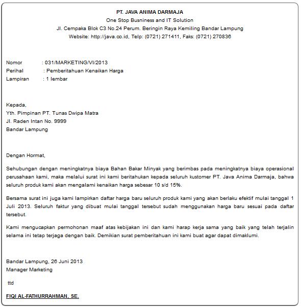 contoh surat balasan komplain harga mahal