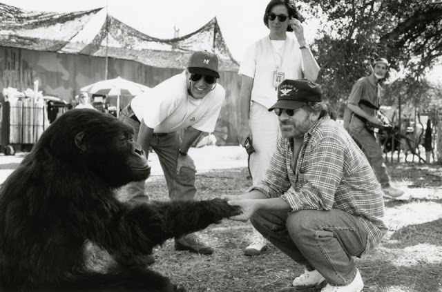 Steven Spielberg visiting Frank Marshall and Kathleen Kennedy on the set of Congo directed by Frank Marshall, 1995.