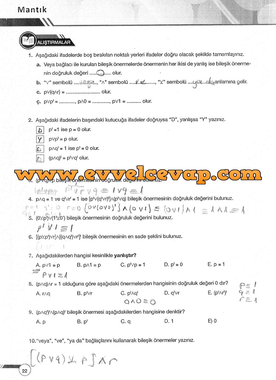 9. Sınıf Ödev Yayınları Matematik 22. Sayfa Cevapları