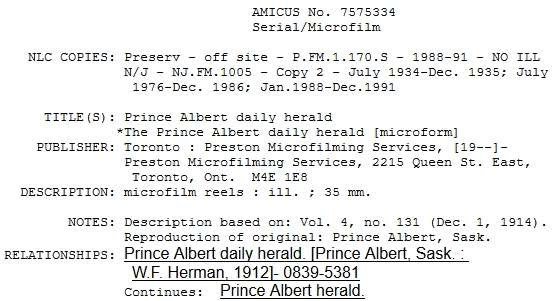 Screen capture from Library and Archives Canada web site search for Prince Albert Daily Herald Newspaper, retrieved 18 Oct 2018