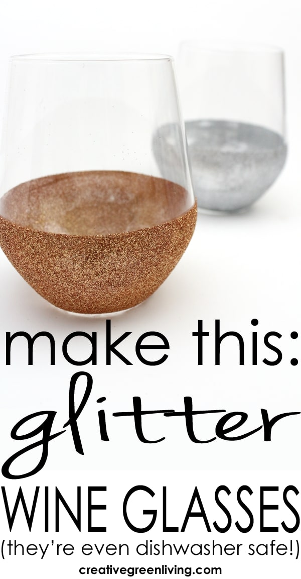 How to make DIY stemless glitter wine glasses. This tutorial shows you how to use washable and dishwasher safe Mod Podge to make personalized wine glasses which are perfect for celbrating birthdays. This same process works for all colors of glitter including silver, gold, purple and blue! #creativegreenliving #upcycle #upcycling #glitter #modpodge #dishwashersafe