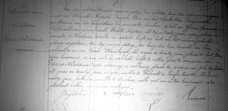 Acte de Naissance de Pierre Alois NUTTEN à Beselare le 6 juin 1869 - Archives de la Province (Courtrai)
