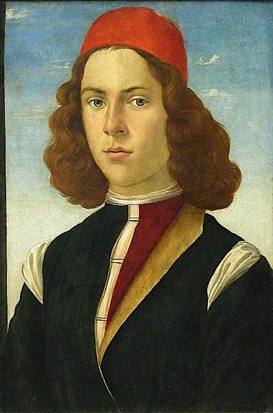 Sandro Boticelli (1445-1510) ou Domenico Ghirlandaio (1448-1494) ou Mariano d'Antonio (??-??) Portait de Jeune Homme, vers 1480-85 Huile sur panneau de bois, 50 x 30 cm Musée du Louvre, Paris