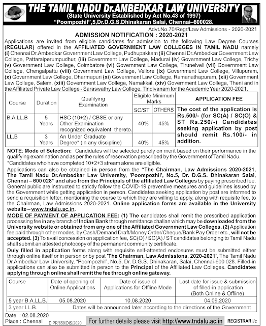dr ambedkar law university admission 2020-2021