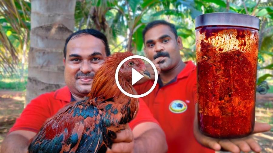 Country Chicken Pickle | Nattu kozhi Oorugai Village Style Cooking | World Food Tube