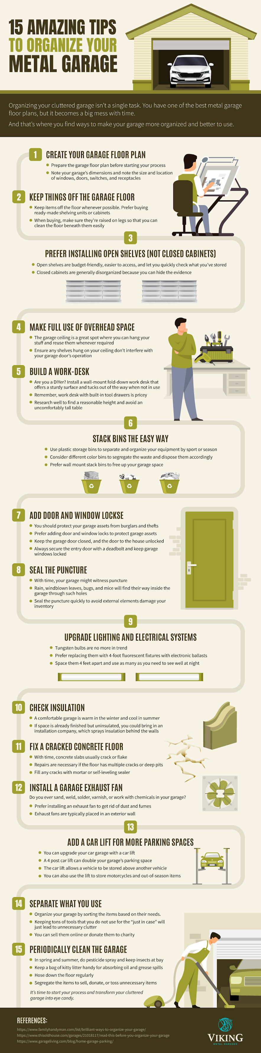 15 Amazing Tips to Organize Your Metal Garage #infographic #Home #infographics