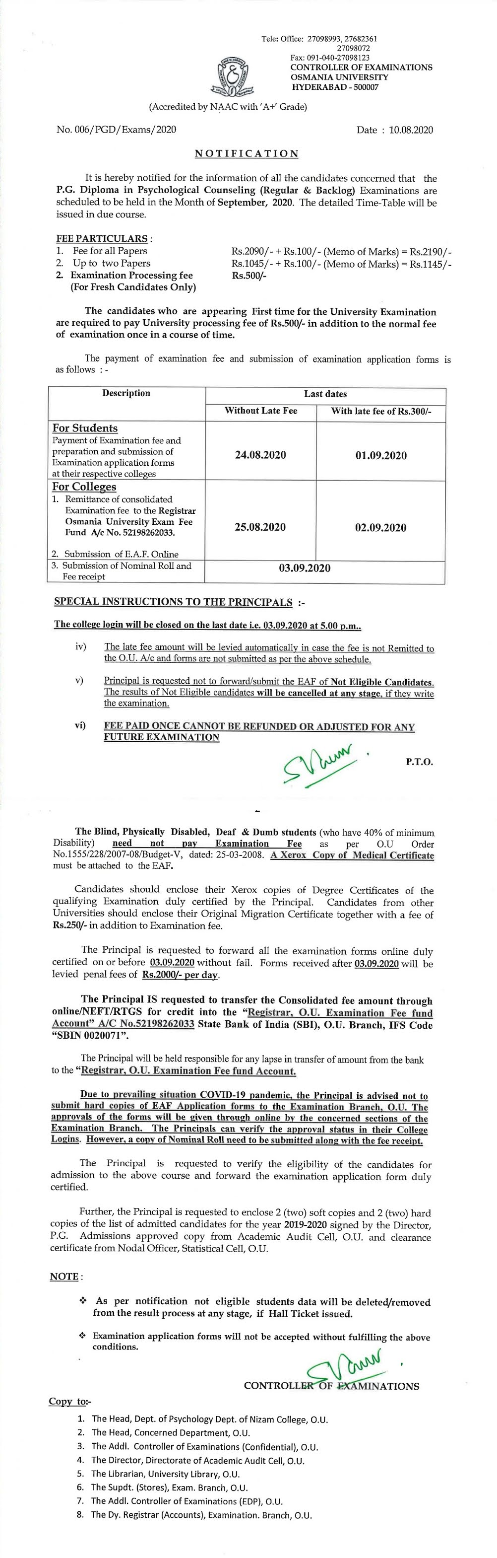 Osmania University PG Diploma in Psychological Counselling Sep 2020 Exam Fee Notification