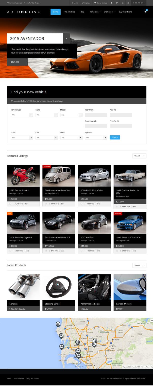 car dealer website wp template
