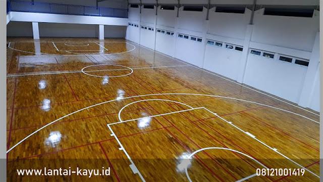 Pemasangan lantai kayu Jati Makassar Internatioanl School