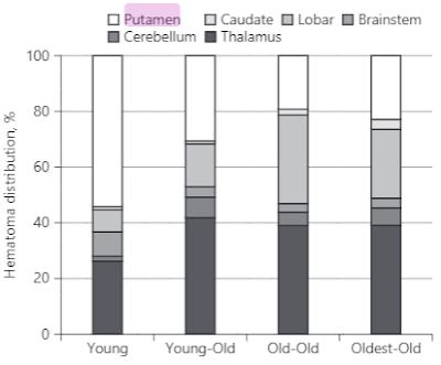 脳内出血の位置と年齢