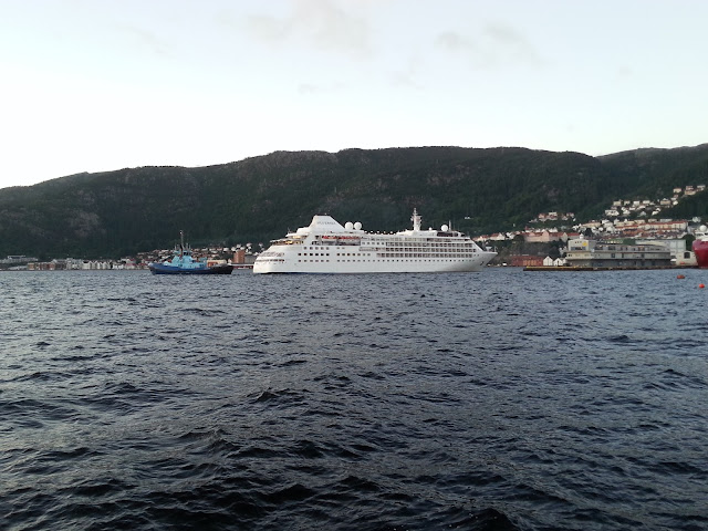 Luxury cruise ship Silver Wind in Bergen, Norway; Silversea: Fjords cruise
