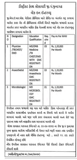 07Posts - District Health Society Junagadh Recruitment for Physician  TBCHESTEMD, Anaesthetist, Microbiologist Posts 2020