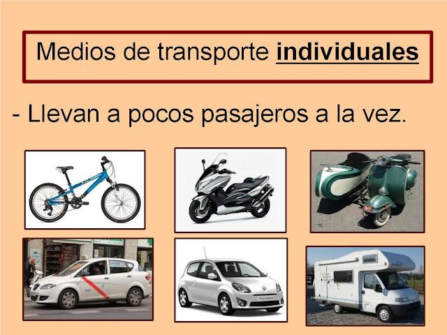 Resultado de imagen de LOS MEDIOS DE TRANSPORTE INDIVIDUALES Y COLECTIVOS